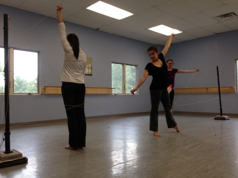 Bridget, Gen, and Nicole rehearse for Bound, Rebound